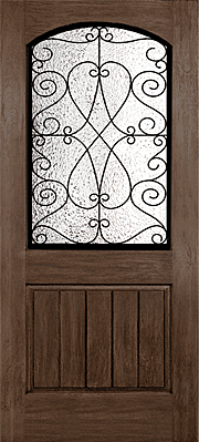 Rustic Hardwood Grain with Wrought Iron Grille Fibreglass Door