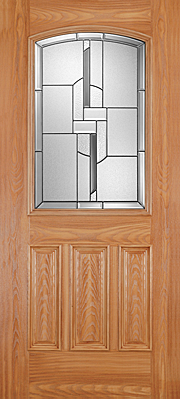 Barrington Oak 3 Panel Door Half Lite Camber Top with Glass Exterior Fibreglass Door