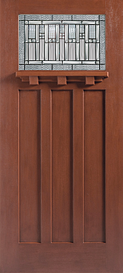 Barrington Mahogany 3 Panel Door Craftsman Lite with Glass and Dentil Exterior Fibreglass Door
