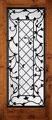 Knotty Alder with Glass and Grille Woodgrain Panel Wood Door