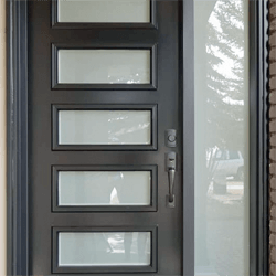 Black Fibreglass exterior 5 lite door with a sidelite, obscure glass. Professionally painted.