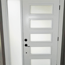 White Fibreglass 5 lite exterior door with a sidelite, obscure glass. Professionally painted.