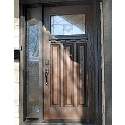 Craftsman style fibreglass door with sidelite. Professionally painted.
