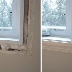 (left) Foam insulation to fill in gaps preventing air-leaks. (right) New replacement window completed.